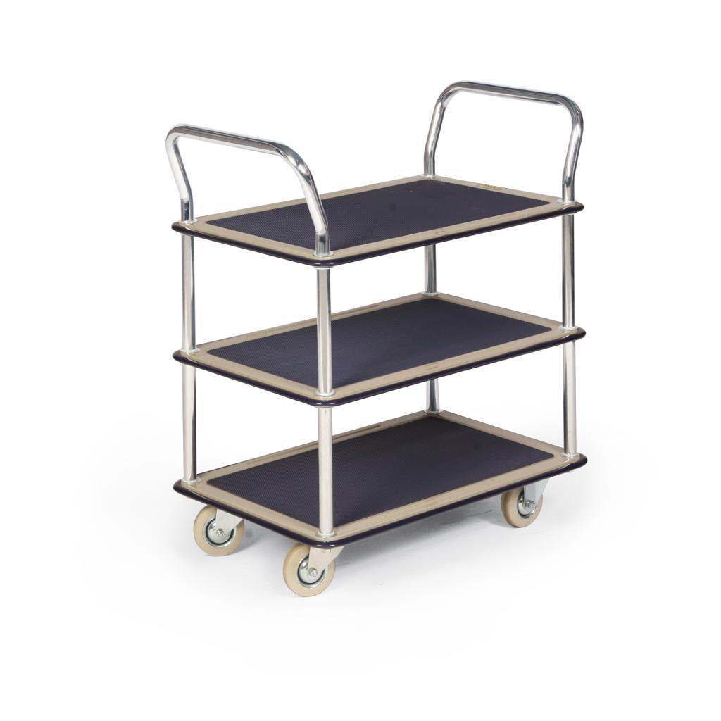 Stahlblech-Etagenwagen, mit 3 Ladeflächen und 2 Schiebebügeln