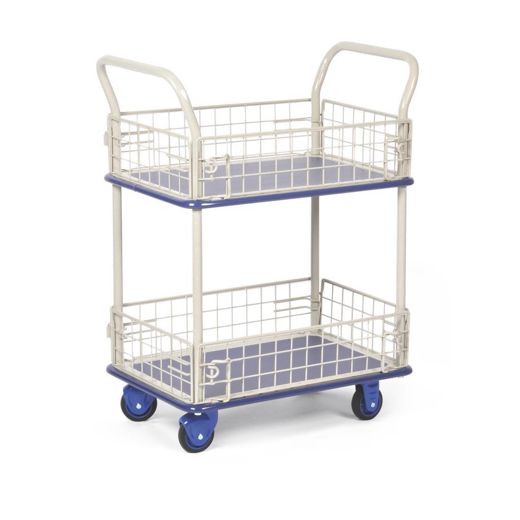 Transportwagen mit Gitterwänden und 2 Ladeflächen - Traglast bis 150 kg