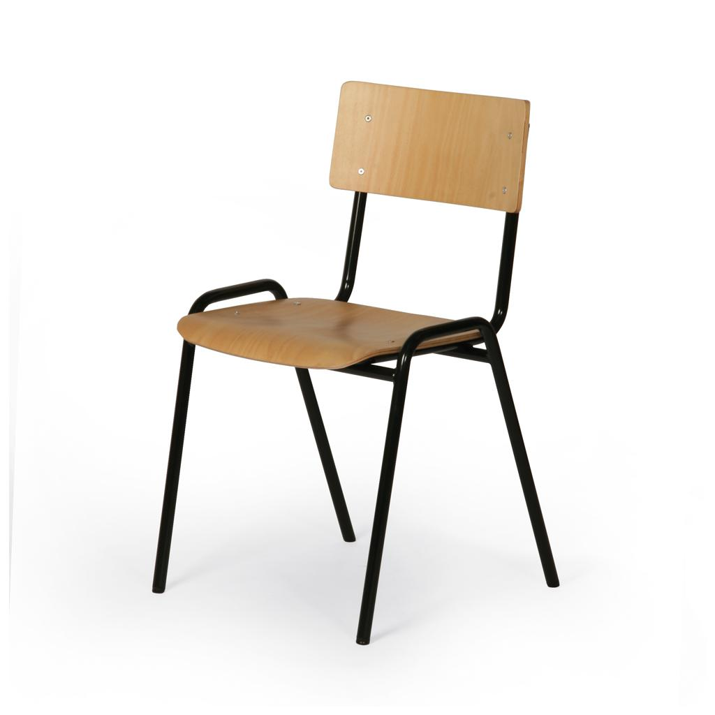 Stapelstuhl ECO - Sitz und Lehne Buchensperrholz - Gestell schwarz