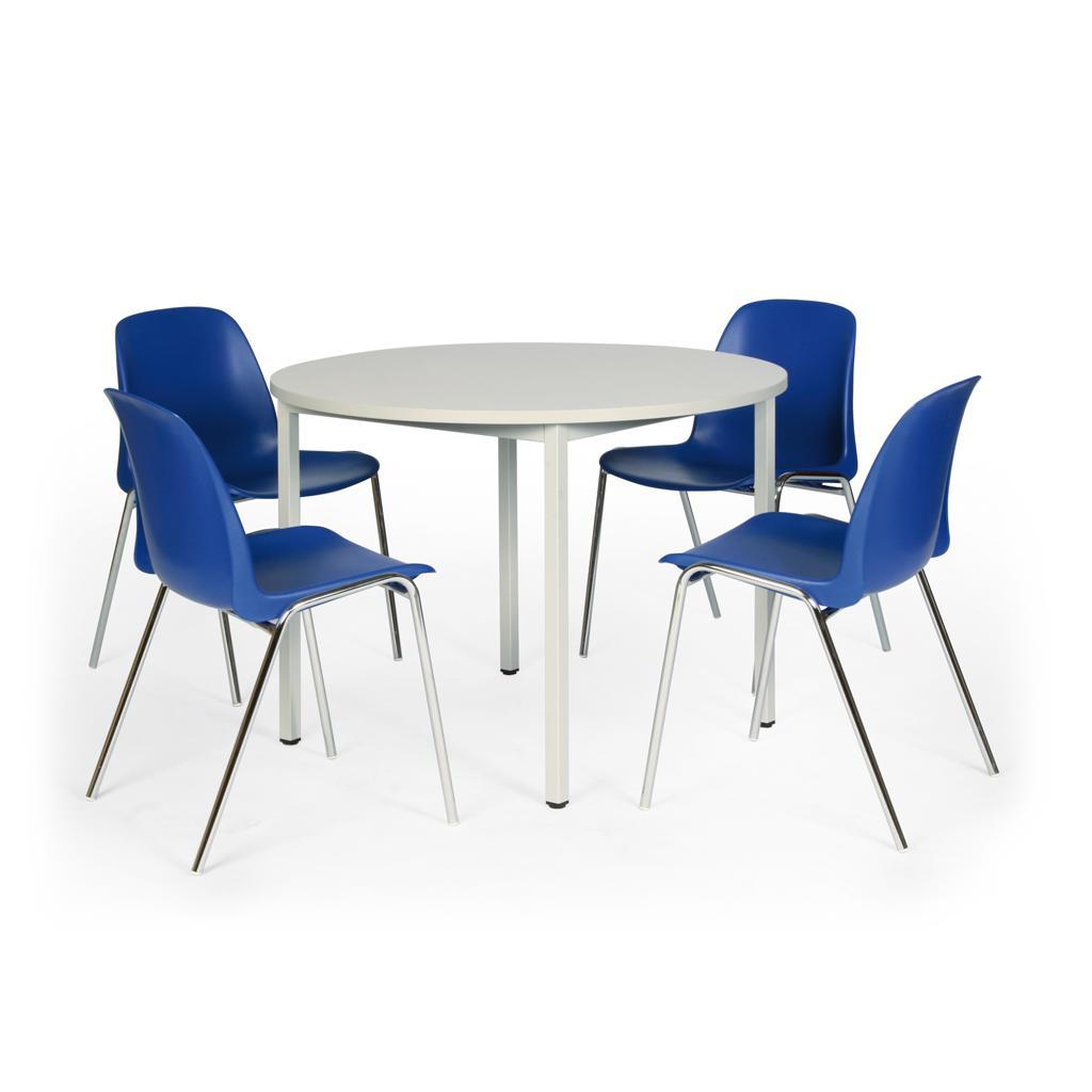 Tisch-Stuhl-Kombination - Tisch ø 1000 mm - 4 blaue Kunststoffstühle