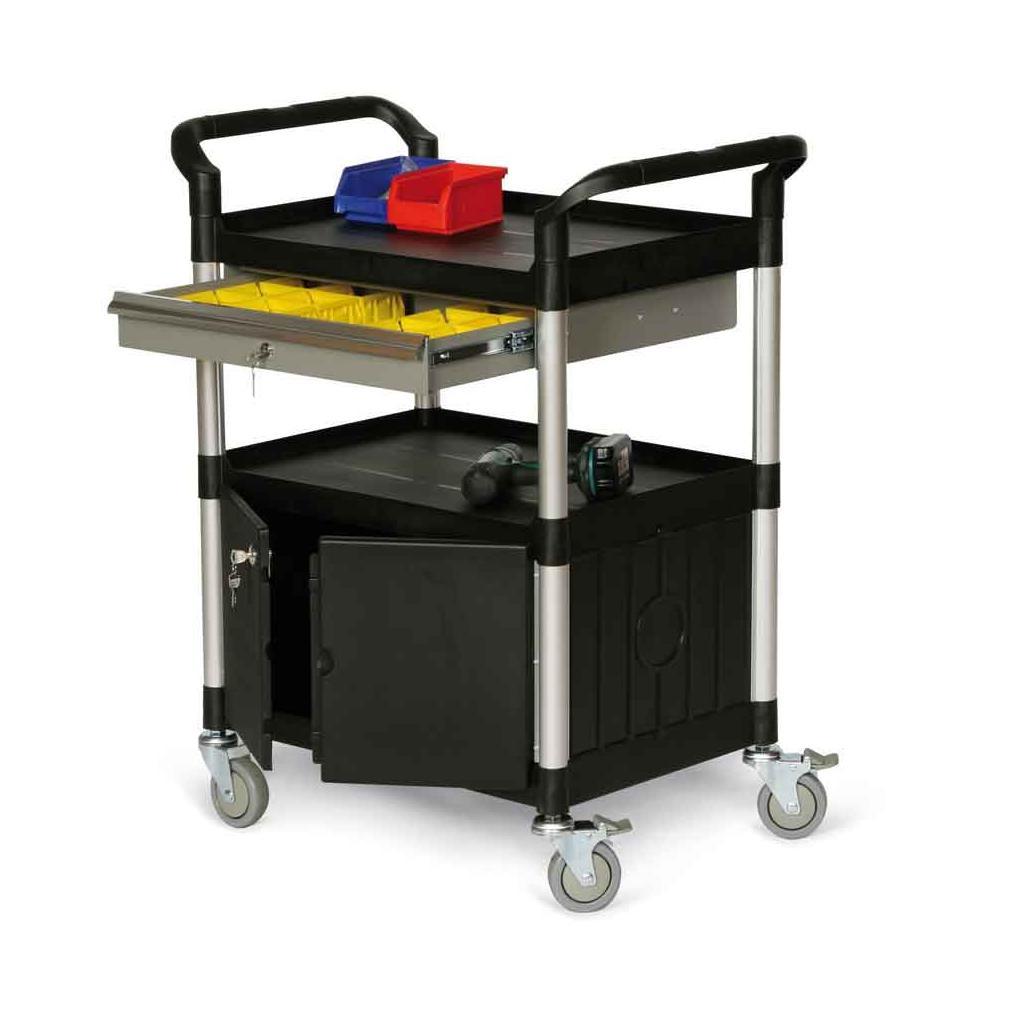 Kunststoff-Etagenwagen - 2 Ladeflächen - Schrankfach - Schublade