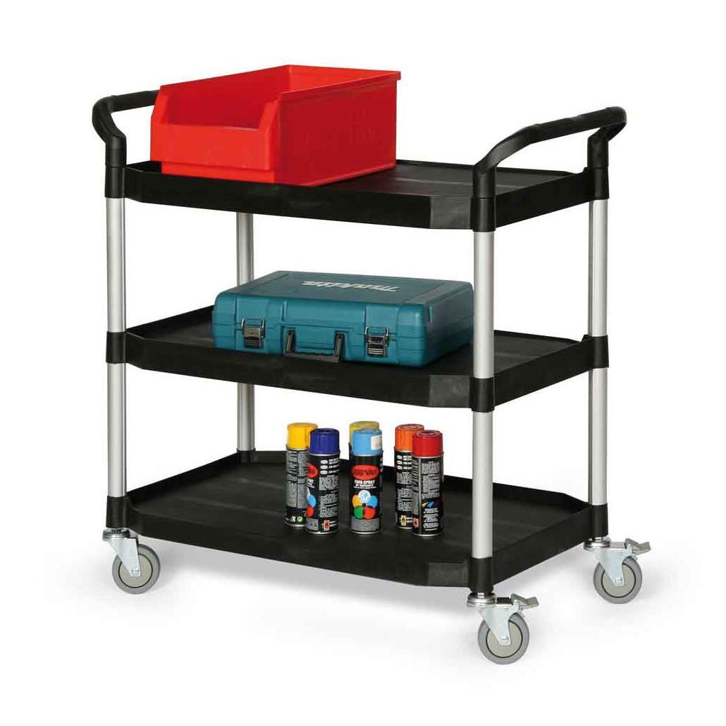Kunststoff-Etagenwagen mit drei Ladeflächen, Ladefläche 915 × 520 mm