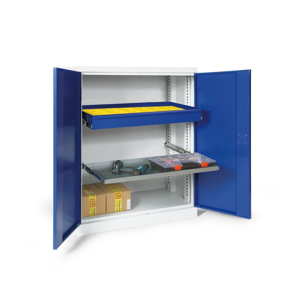 Materialschrank - zweitürig - 1 Boden - 1 Schublade