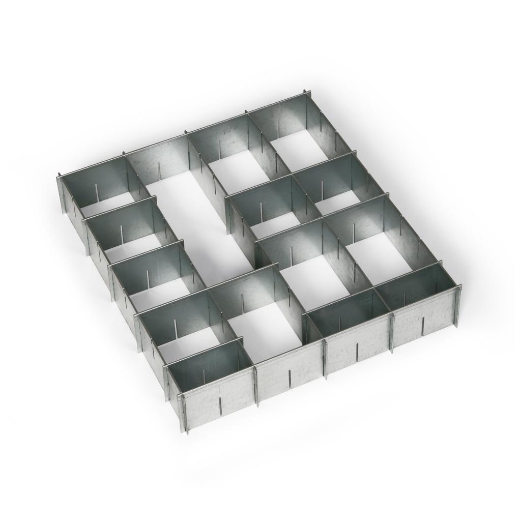 Einteilungsset, Stahlblech verzinkt, für Schublade 500 mm