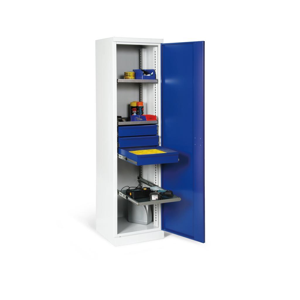 Materialschrank - eintürig - 3 Böden - 3 Schubladen