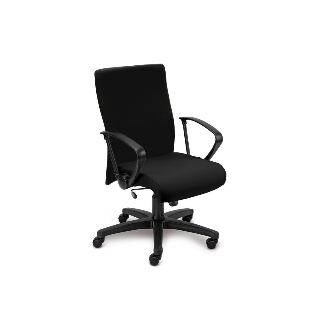 Bürostuhl Neo - inkl. Armlehnen - Wippmechanik - Bezug in Schwarz