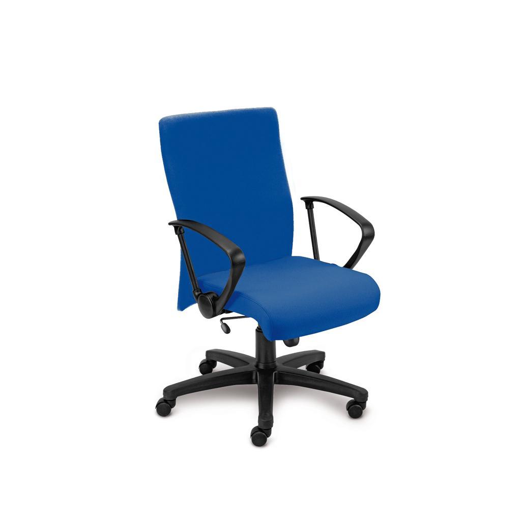 Bürostuhl Neo - inkl. Armlehnen - Wippmechanik - Bezug in Blau