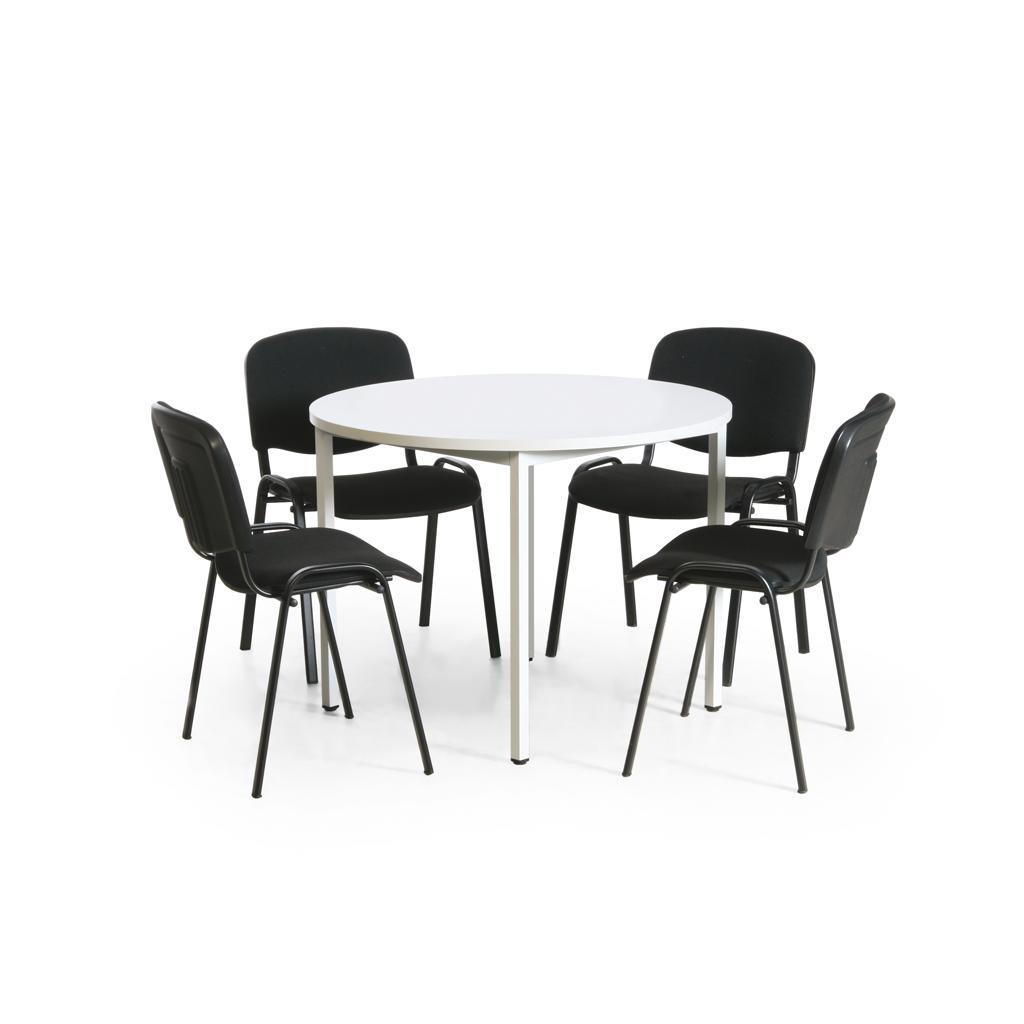 Tisch-Stuhl-Kombination - Tisch ø 1000 mm - 4 schwarze Konferenzstühle