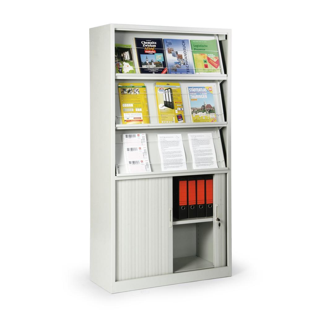 Prospektschrank - 3 Prospektböden - Rollladen-Schrankfach