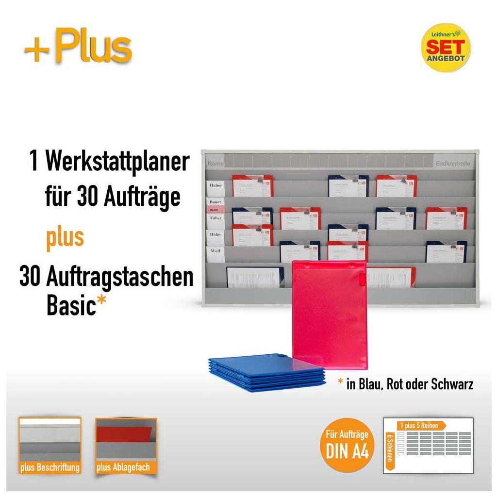Plantafel-Set - mit Zeitstrahl - für DIN A4 - 30 Aufträge + 30 Taschen