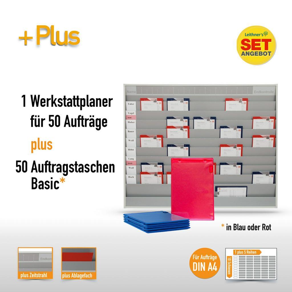 Plantafel-Set - mit Zeitstrahl - für DIN A4 - 50 Aufträge + 50 Taschen