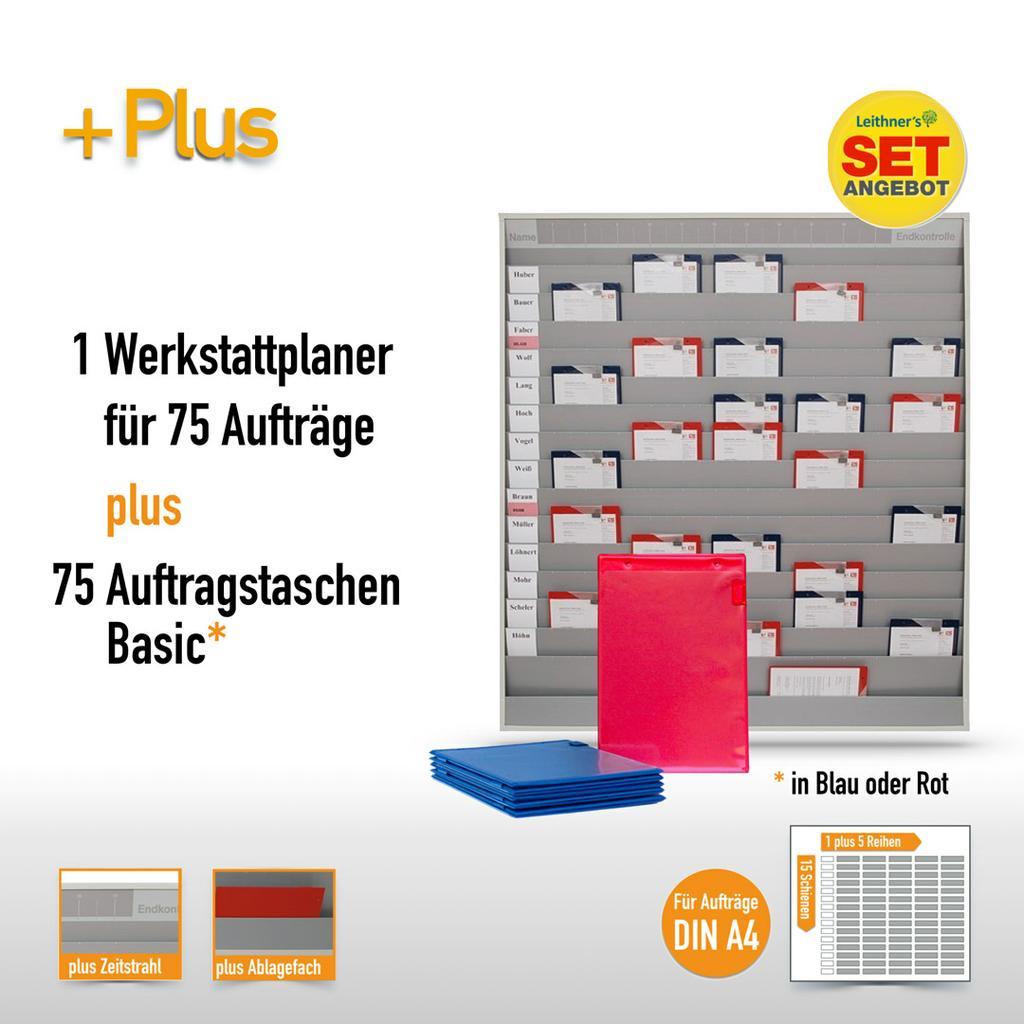 Plantafel-Set - mit Zeitstrahl - für DIN A4 - 75 Aufträge + 80 Taschen