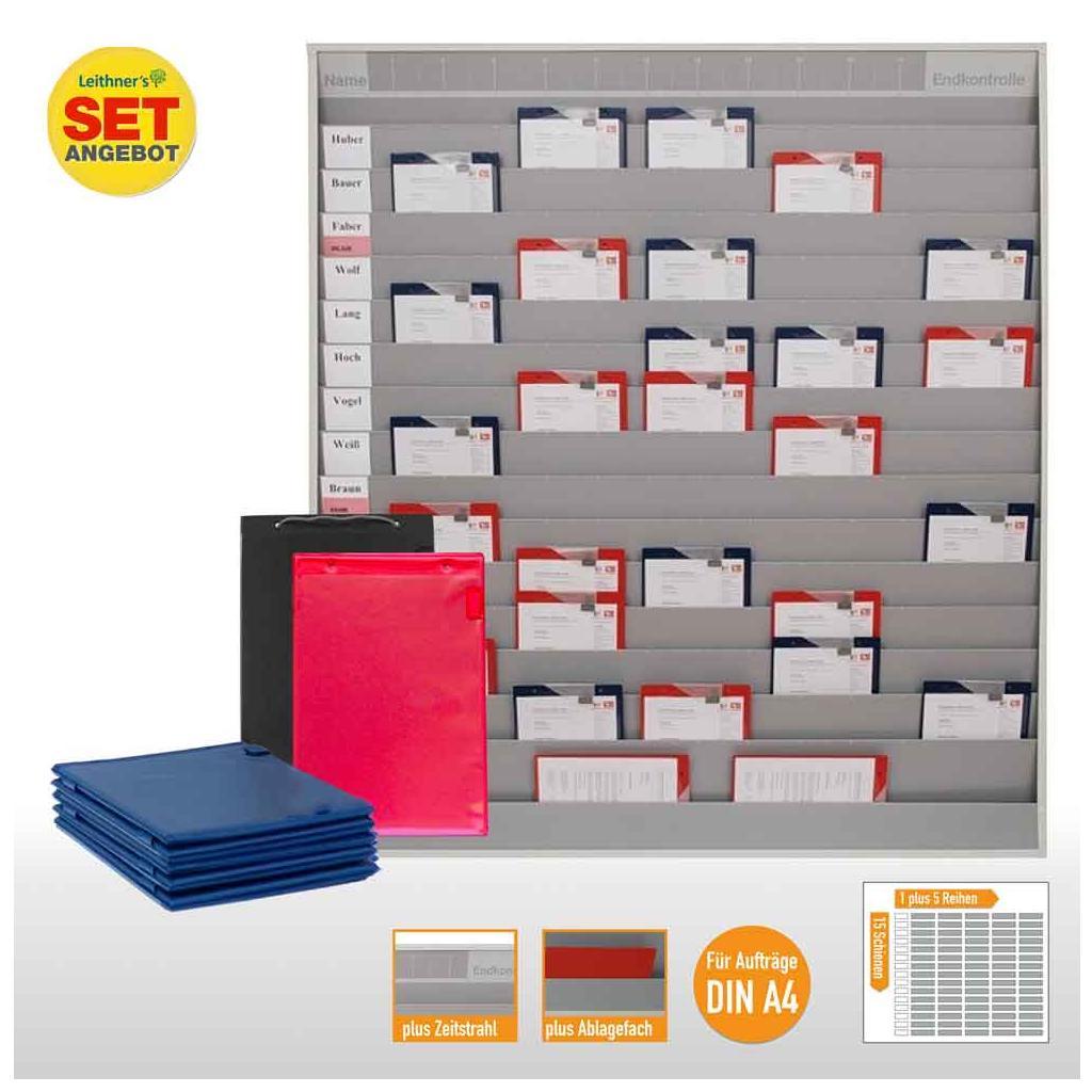 Plantafel-Set - mit Zeitstrahl - für DIN A4 - für 75 Aufträge + 80 Taschen