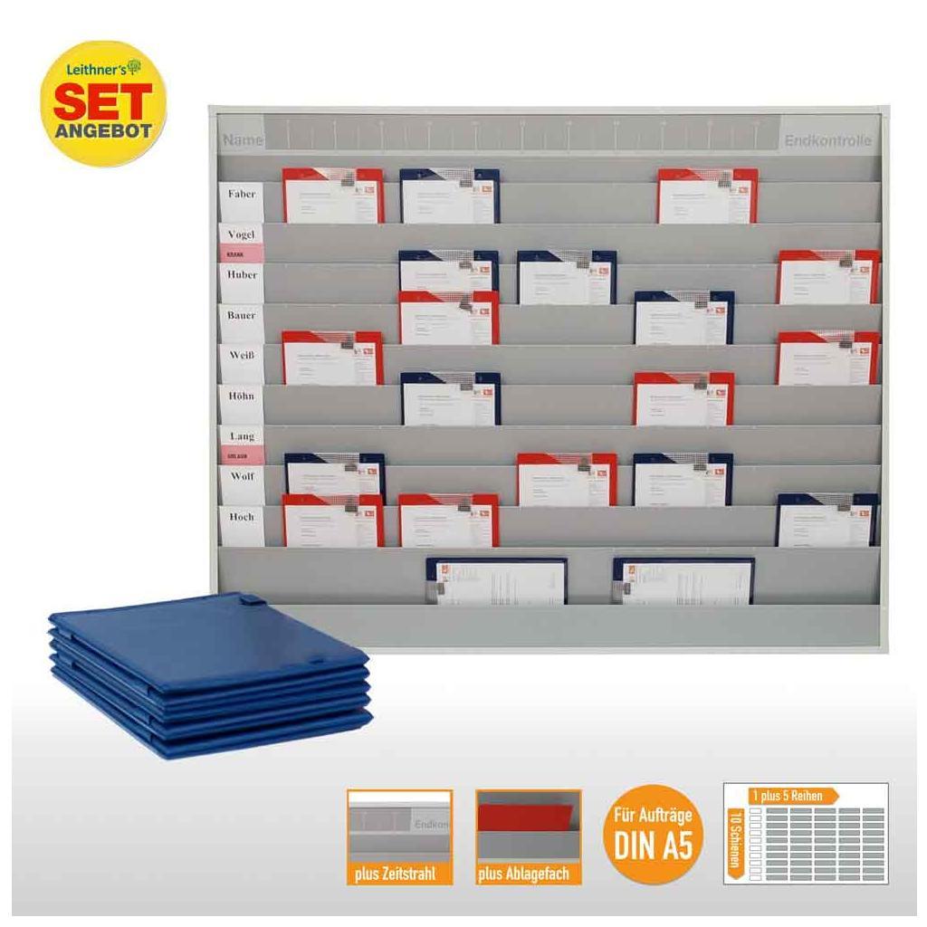 Plantafel-Set - mit Zeitstrahl - für DIN A5 - 50 Aufträge + 50 Taschen