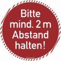 Bodenmarkierung - Antirutschbelag - Rund rot - Bitte 2 Meter Abstand halten!