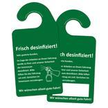 """Hinweis-Spiegelanhänger - """"Frisch desinfiziert!"""" Produktbild"""