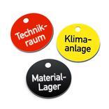 Textmarken aus Kunststoff mit 2-zeiliger Gravur, ohne S-Haken Produktbild