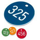 Zahlenmarken aus Kunststoff, 1-3 stellig nummeriert, ohne S-Haken Produktbild