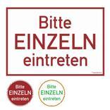 Türmarkierung - Wartebereich - Hinweisschild Bitte EINZELN eintreten! Produktbild
