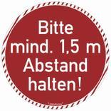 Bodenmarkierung rund - Wartebereich - Bitte mind. 1,5 Meter Abstand halten! Produktbild