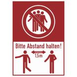 Hinweis-Kombischild aus Hartschaum - Bitte mind. 1,5 Meter Abstand halten! Produktbild