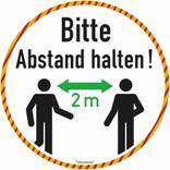 Bodenmarkierung - Antirutschbelag - Rund weiss - Bitte 2 Meter Abstand halten! Produktbild