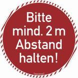 Bodenmarkierung - Antirutschbelag - Rund rot - Bitte 2 Meter Abstand halten! Produktbild