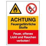 Warn- Verbots- Kombischild Achtung Feuergefährliche Stoffe, Feuer, offenes Licht Produktbild
