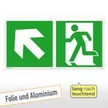 Fluchtwegschild - Notausgang links mit Zusatzzeichen Produktbild