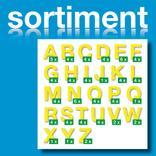 Sortiment Folien-Stanzbuchstaben Großbuchstaben - Gelb - Höhe 25-100 mm Produktbild