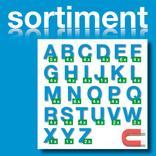 Sortiment Stanz-Großbuchstaben A-Z - magnetisch - Blau - Höhe 50-100 mm Produktbild