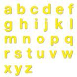 Stanzbuchstaben Kleinbuchstaben a-z - Folie Gelb - Höhe 25-100 mm Produktbild