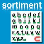 Sortiment Stanz-Kleinbuchstaben a-z - magnetisch - Schwarz - Höhe 50-100 mm Produktbild