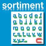 Sortiment Stanz-Kleinbuchstaben a-z - magnetisch - Blau - Höhe 50-100 mm Produktbild