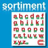 Sortiment Stanz-Kleinbuchstaben a-z - magnetisch - Rot - Höhe 50-100 mm Produktbild