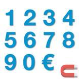 Sortiment Stanzziffern 0-9 - 100 Stück - magnetisch - Blau - Höhe 50-100 mm Produktbild