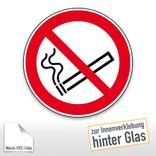 Verbotsschild - Rauchen verboten, zur Innenverklebung hinter Glas Produktbild