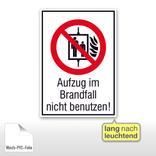 Verbots-Kombischild - Aufzug im Brandfall nicht benutzen, langnachleuchtend Produktbild