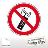 Verbotsschild - Eingeschaltete Mobiltelefone verboten, zur Innenverklebung Produktbild