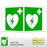 Erste-Hilfe-Schild - Winkel - langnachleuchtend Automatisierter externer Defibrillator (AED) Produktbild