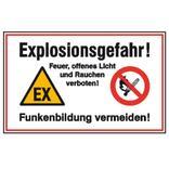Hinweisschild - Explosionsgefahr! Feuer, offenes Licht und Rauchen Produktbild
