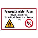 Hinweisschild - Feuergefährdeter Raum, Rauchen verboten Produktbild