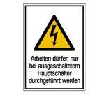 Warn-Kombischild - Arbeiten dürfen nur bei ausgeschaltetem Hauptschalter durchgeführt werden Produktbild