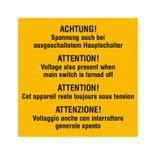 Warn-Zusatzschild - Achtung! Spannung auch bei ausgeschaltetem Hauptschalter - Mehrsprachig Produktbild