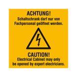 Warn-Kombischild - Achtung! Schaltschrank darf nur von Fachpersonal geöffnet werden - Mehrsprachig Produktbild