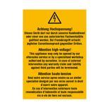 Warn-Kombischild - Achtung Hochspannung! Dieses Gerät darf nur durch unseren Kundendienst... - Mehrsprachig Produktbild