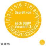 Prüfplakette Geprüft von ... nach DGUV Vorschrift 3 - auf Bogen Produktbild