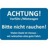 """Hinweis-Etiketten Blau für Vorführ-/Mietwagen """"Bitte nicht rauchen"""" Produktbild"""
