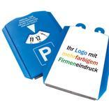 Parkscheibe mit 2 x 1 € Chips, mehrfarbiger Digitaldruck Produktbild