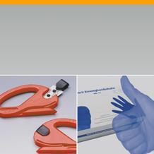 Handschuhe und Folienmesser